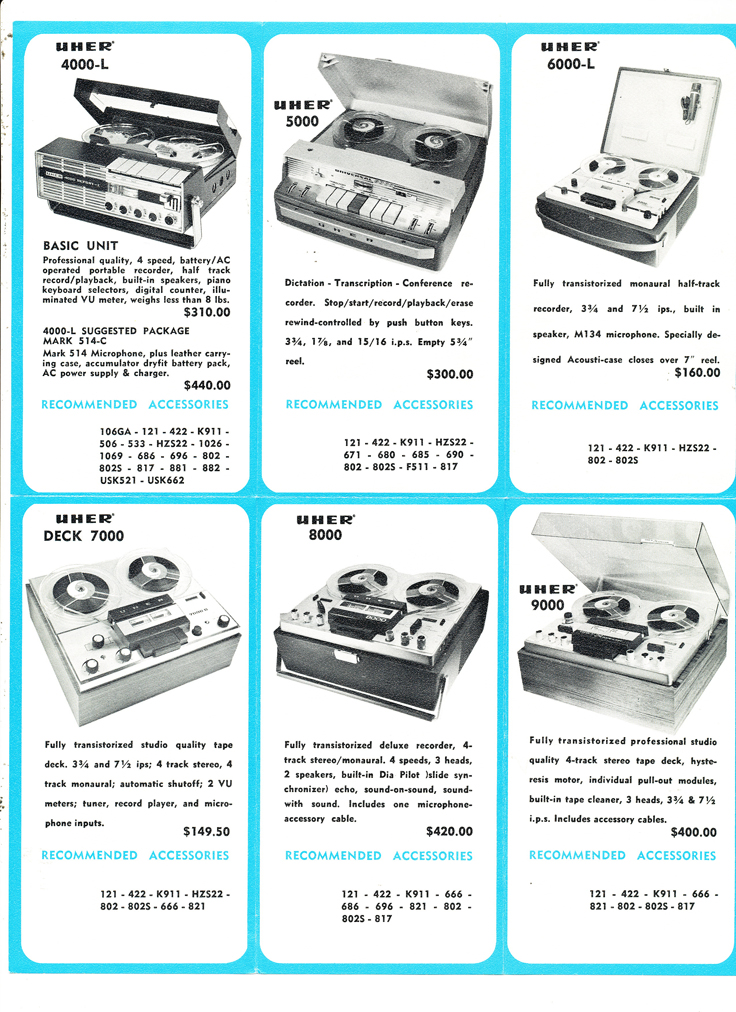 1966 Uher reel tape recorder brochure listing the prices for each model in Reel2ReelTexas.com's vintage recording collection