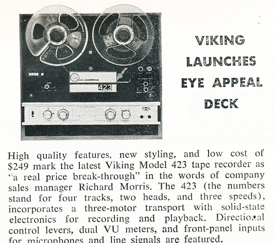 1966 summary of the Viking Model 423 reel to reel tape recorder in Reel2ReelTexas.com's vintage recording collection