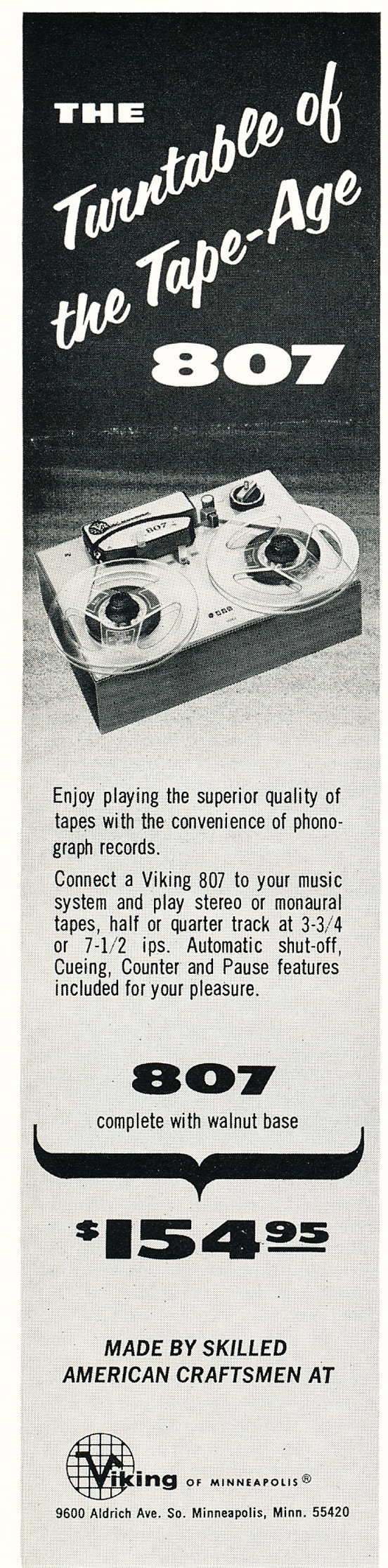 1966 ad for the Viking 807 reel to reel tape recorder in Reel2ReelTexas.com's vintage recording collection