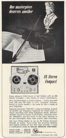 picture of 1966 Viking 88 ad in Reel2ReelTexas.com vintage reel to reel tape recorder collection