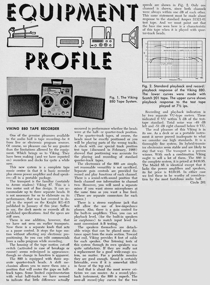 1966 review of the Viking 880 reel to reel tape recorder in Reel2ReelTexas.com's vintage recording collection