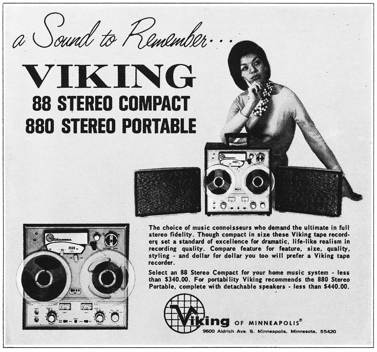 1966 ad for the Viking 88 and 880 reel to reel tape recorders in Reel2ReelTexas.com's vintage recording collection