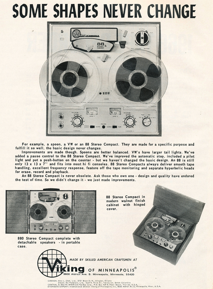 1966 ad for the Viking 88 reel to reel tape recorder in Reel2ReelTexas.com's vintage recording collection