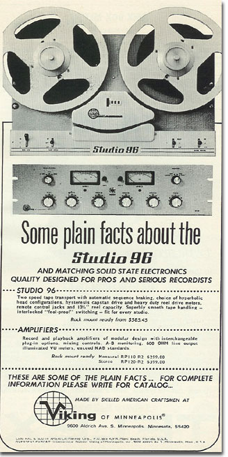 picture of 1966 Viking 96 tape recorder ad