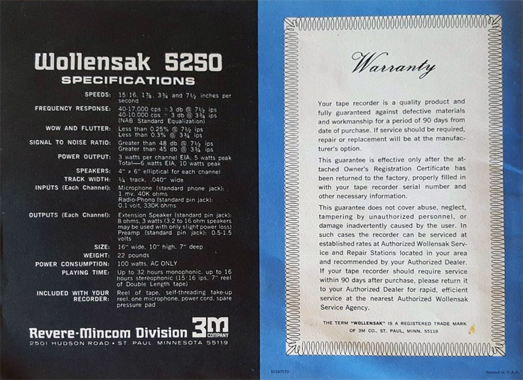 1966 Wollensk 5250 reel tape recorder manual in Reel2ReelTexas' vintage tape recording collection
