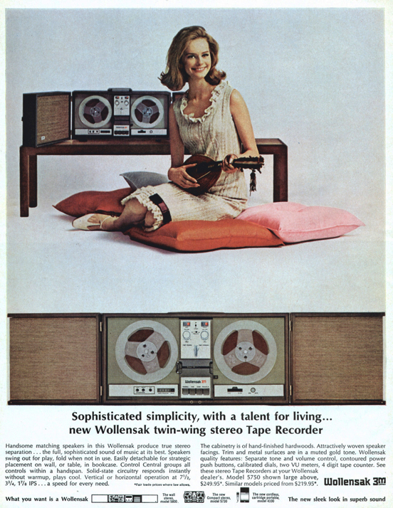 1966 Wollensk 5750 reel tape recorder ad in Phantom Productions vintage tape recording collection