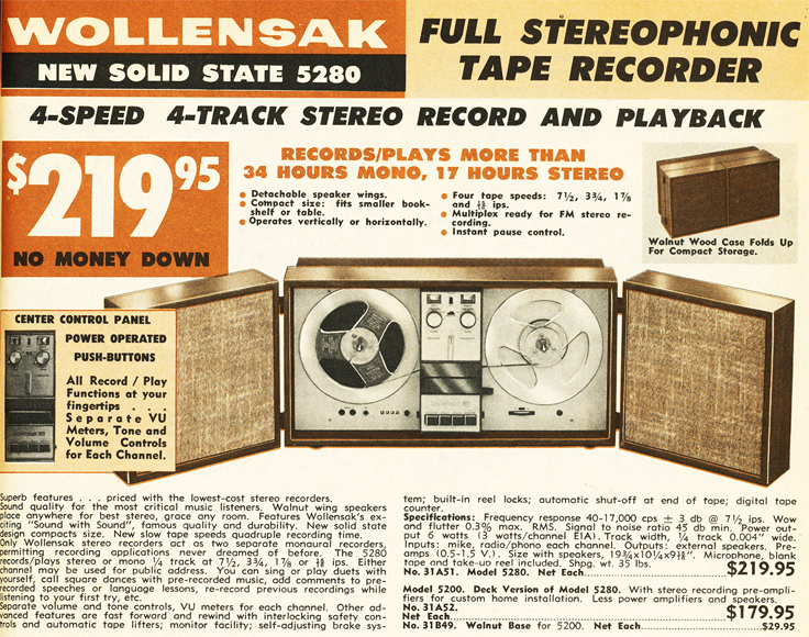 1966 ad in the BA catalog for the 3M Wollensak 5280 reel to reel tape recorder in Reel2ReelTexas.com's vintage recording collection