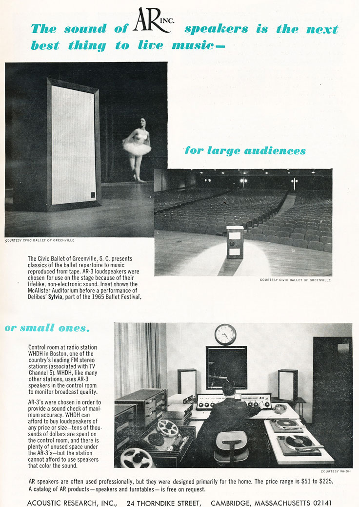 1967 ad for Acoustin Research in Reel2ReelTexas.com's vintage recording collection