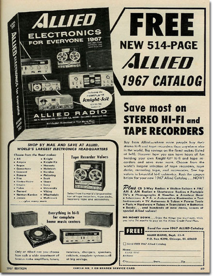 1967 ad for Allied radio catalog