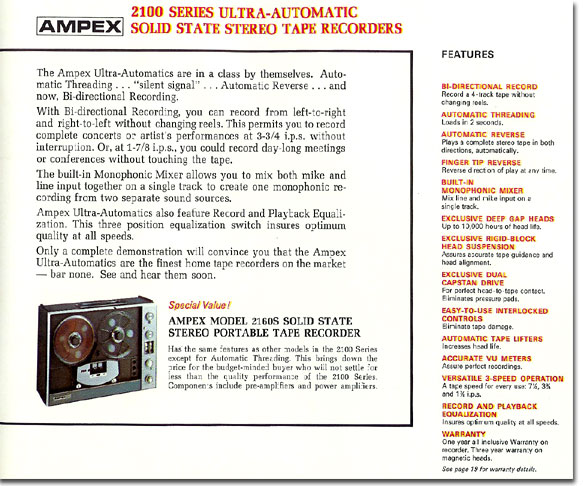 1967 Ampex brochure describing the Ampex 2100 series tape recorder in Reel2ReelTexas.com vintage reel to reel tape recorder collection