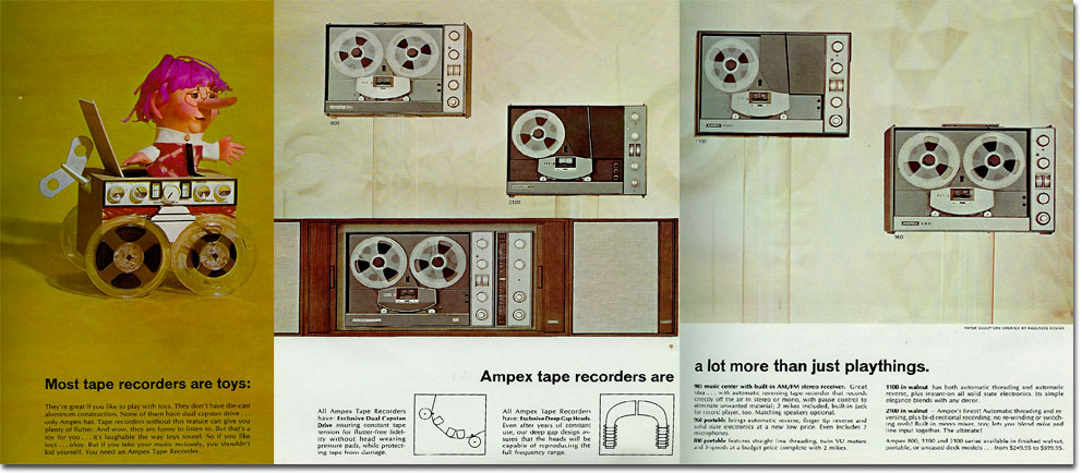 1967 ad for Ampex reel tape recorders