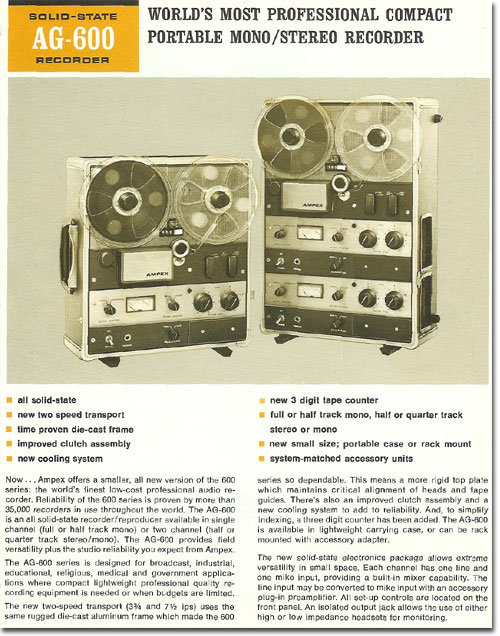 1967 Ampex AG600 professional reel tape recorder