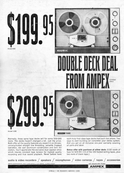1967 Ampex 840 and 1150 reel to reel tape recorder  ad in Reel2ReelTexas.com vintage reel to reel tape recorder collection