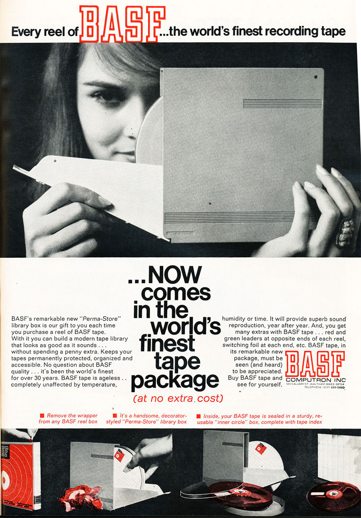 1967 ad for BASF reel tape in Reel2ReelTexas.com's vintage recording collection