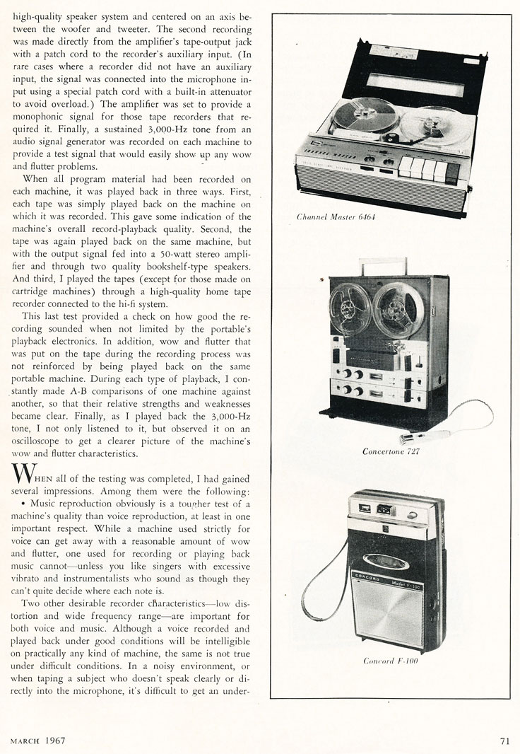 1967 provile of battery portable reel to reel tape recorders in Reel2ReelTexas.com's vintage recording collection