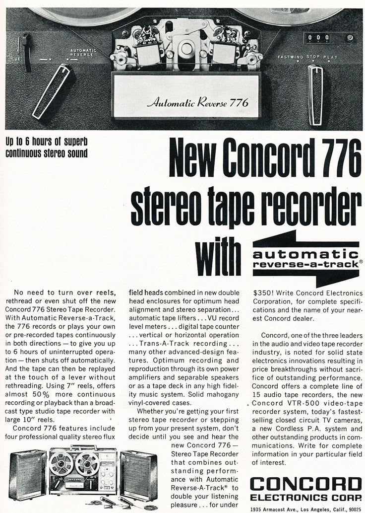 1967 ad for Concord 776 reel to reel tape recorder  in Reel2ReelTexas.com's vintage recording collection