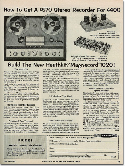1967 ad for HeathKit reel tape recorders
