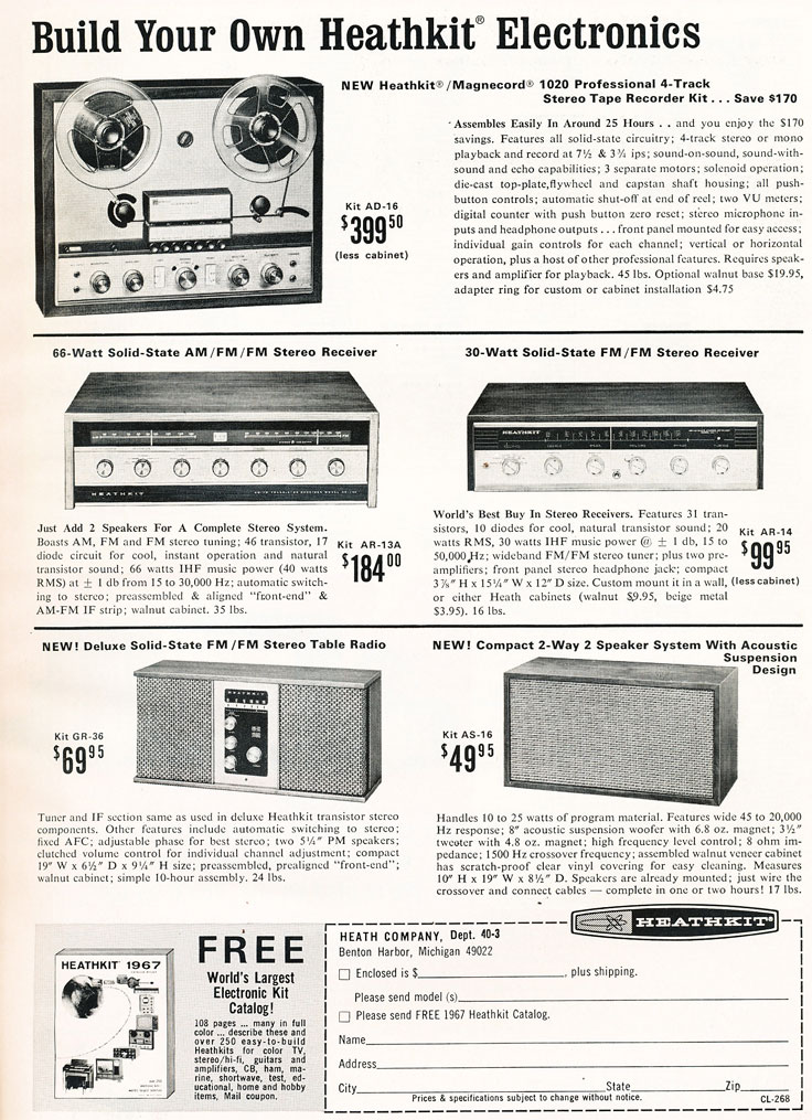 1967 ad for HeathKit in Reel2ReelTexas.com's vintage recording collection