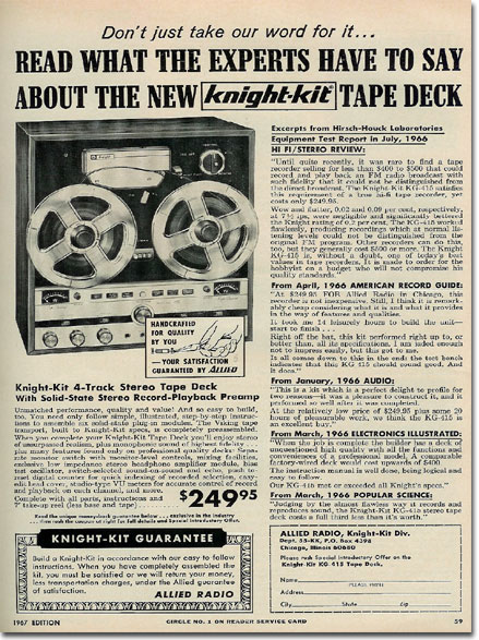 1967 ad for Knight Kit reel tape recorders