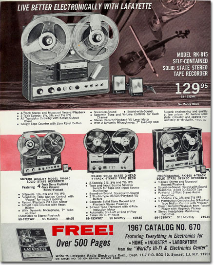 1967 ad for Lafayette reel tape recorders