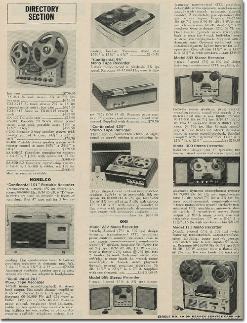 1967 Reel to reel tape recorder Directory in Reel2ReelTexas.com's vintage recording collection1967 Reel to reel tape recorder Directory