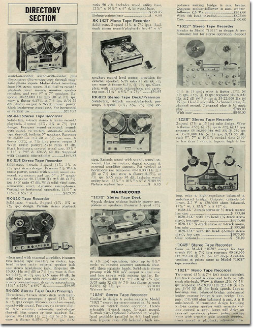 1967 Reel to reel tape recorder Directory in Reel2ReelTexas.com's vintage recording collection
