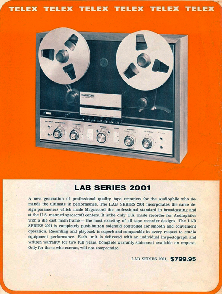 1967 Ad for the Magnecord Lab 2001 reel to reel tape recorder in the Phantom productions' vintage recording collection