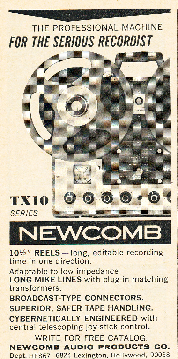 1967 ad for Newcomb reel to reel tape recorders in Reel2ReelTexas.com's vintage recording collection