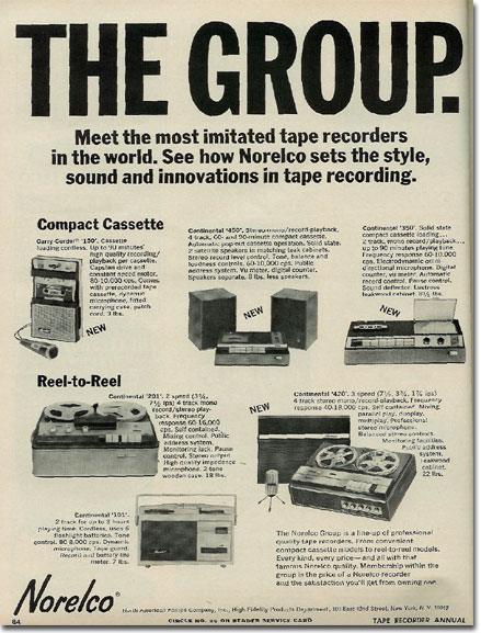 1967 ad for Norelco reel tape recorders