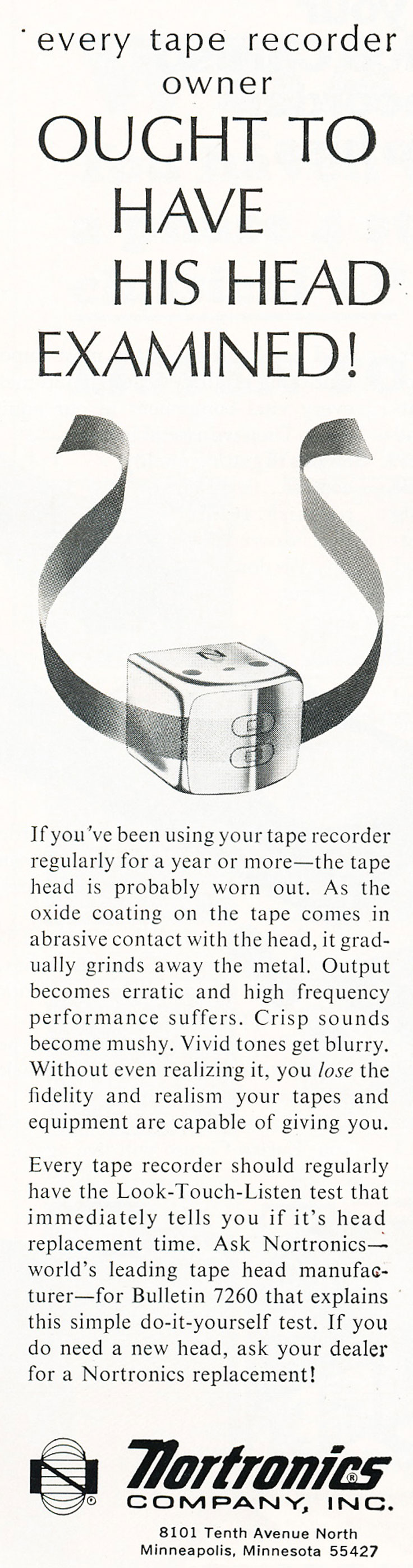 1967 ad for Nortronics reel to reel tape recorder heads in Reel2ReelTexas.com's vintage recording collection