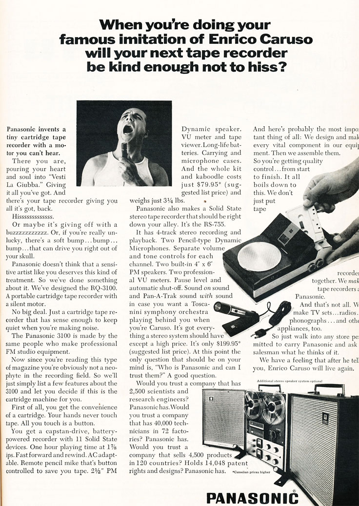 1967 ad for Panasonic reel to reel tape recorders  in Reel2ReelTexas.com's vintage recording collection
