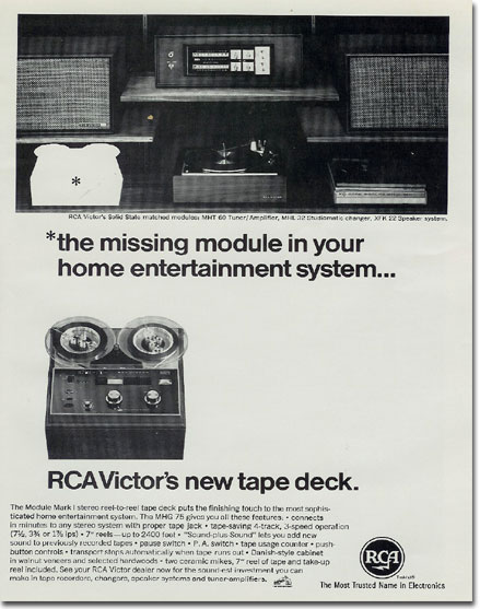 1967 ad for RCA reel tape recorders