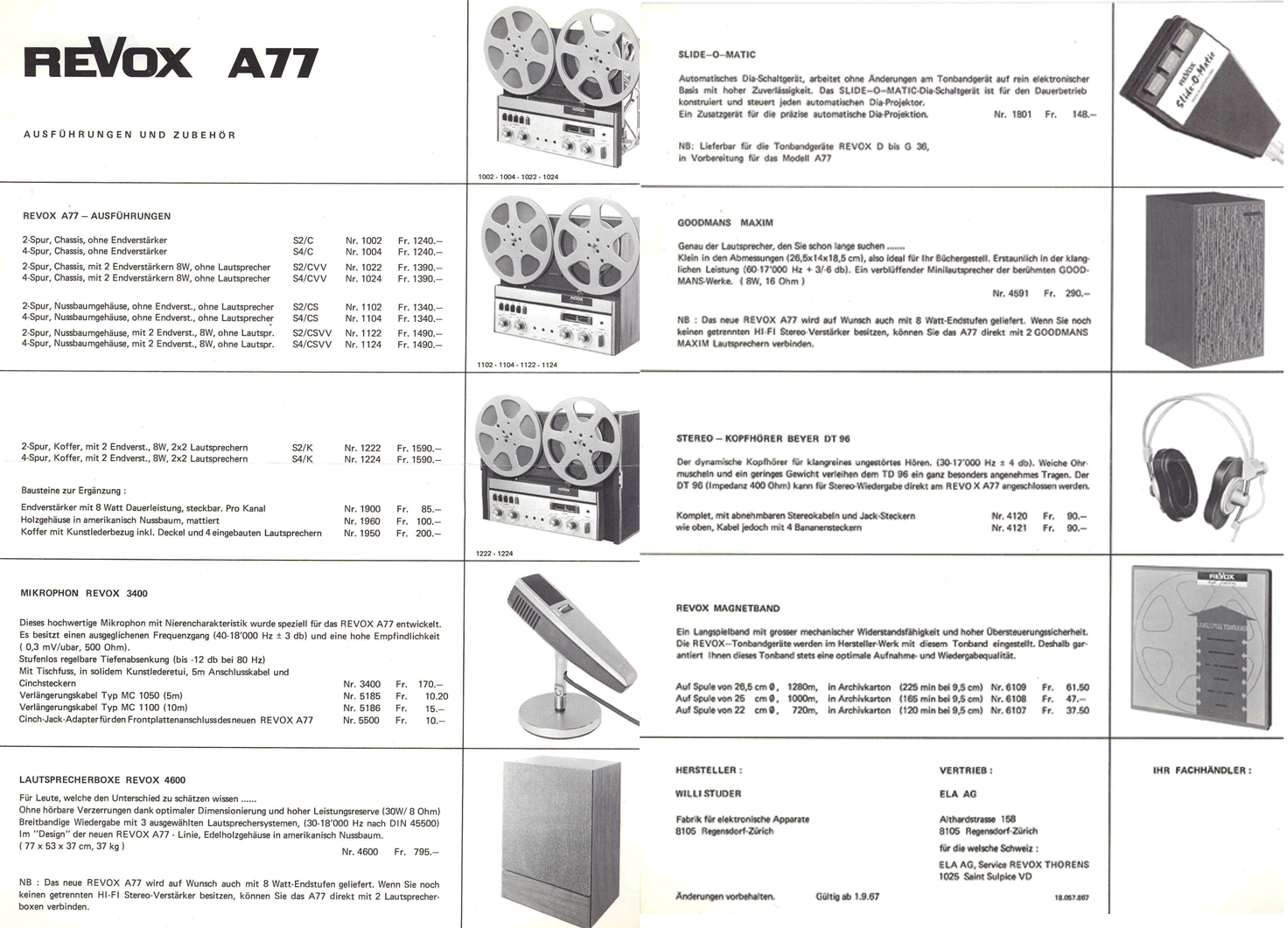 1967 ReVox brochure featuring the A77 in German