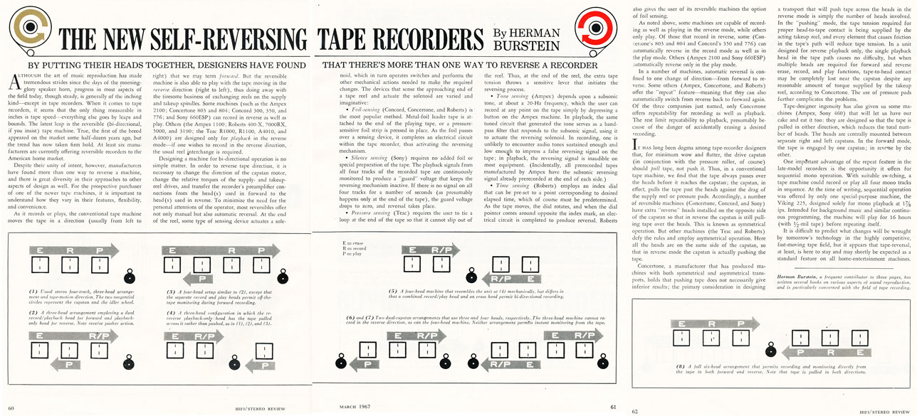 1967 article on self reversing reel to reel tape recorders in Reel2ReelTexas.com's vintage recording collection