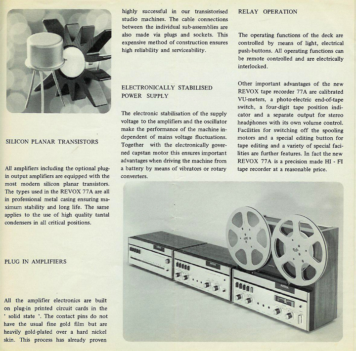 1967 Revox A77 brochure in Phantom Productions' vintage reel to reel tape recording collection
