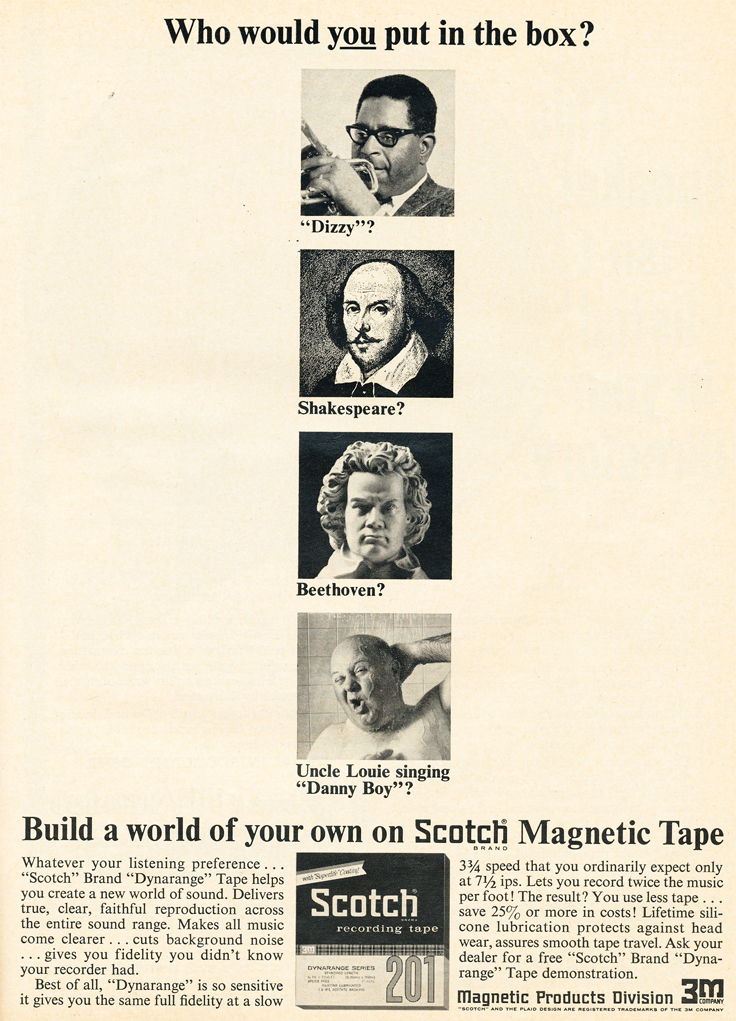 1967 ad for 3M Scotch reel to reel recording tape in Reel2ReelTexas.com's vintage recording collection
