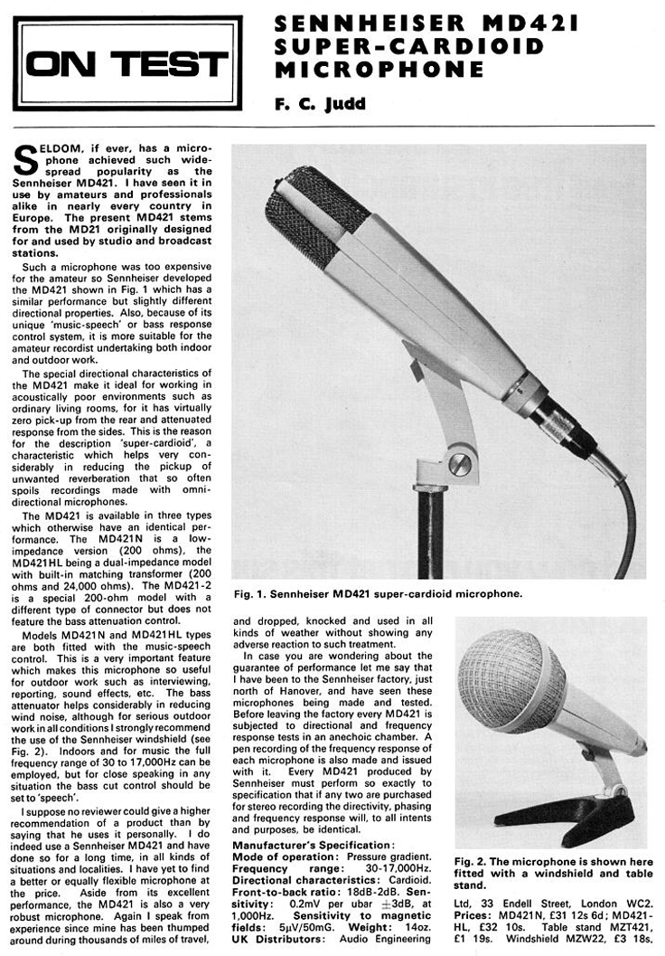 1967 review of the Sennheiser MD421 microphone in   Reel2ReelTexas.com's vintage recording collection
