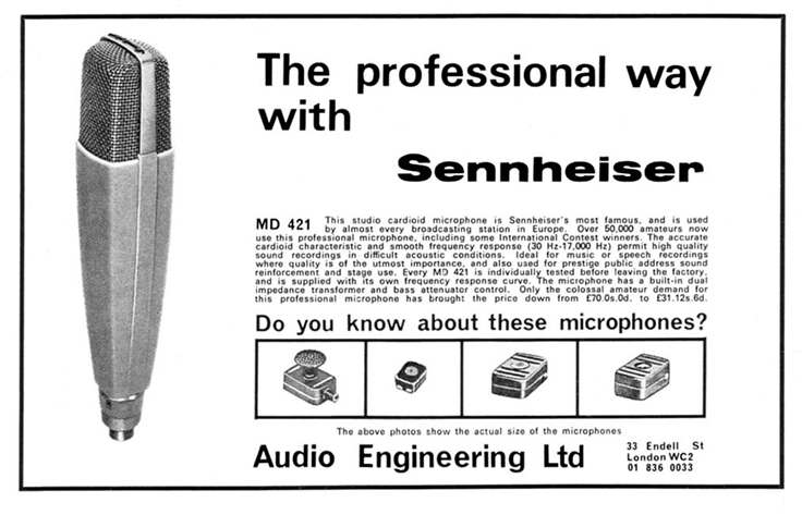1967 ad of the Sennheiser MD421 microphone in   Reel2ReelTexas.com's vintage recording collection