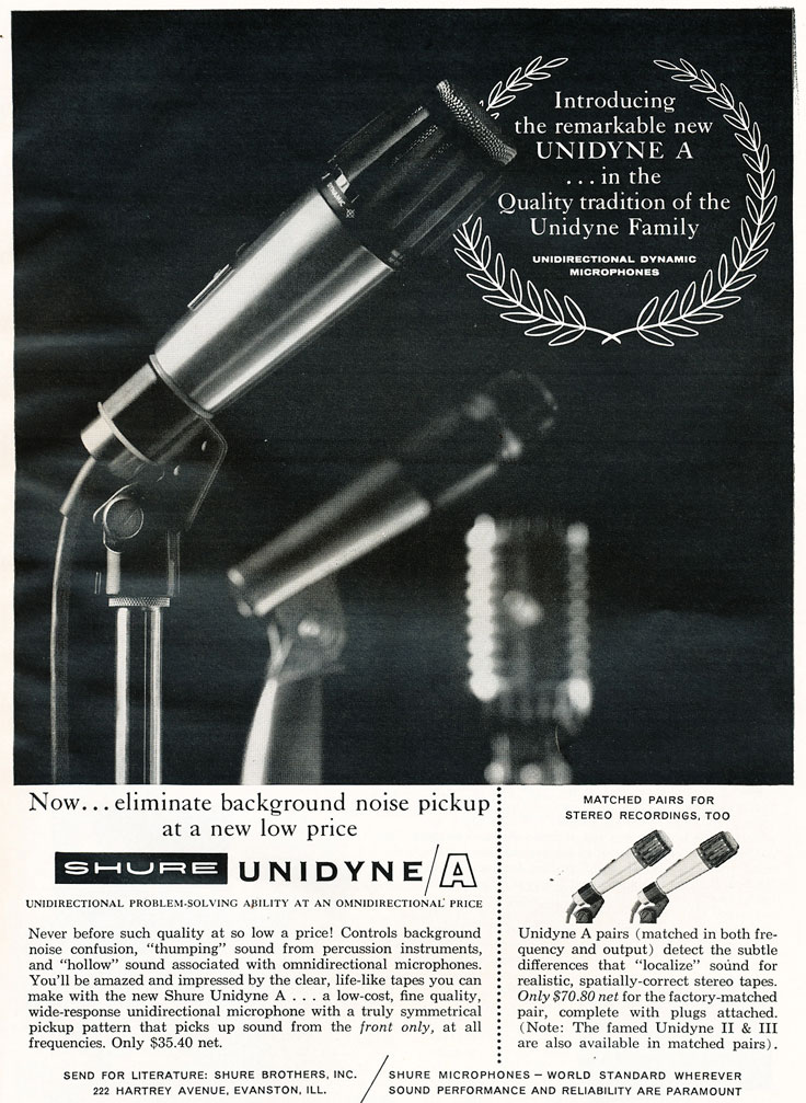1967 ad for the Shure Unidyne/A   microphone in   Reel2ReelTexas.com's vintage recording collection
