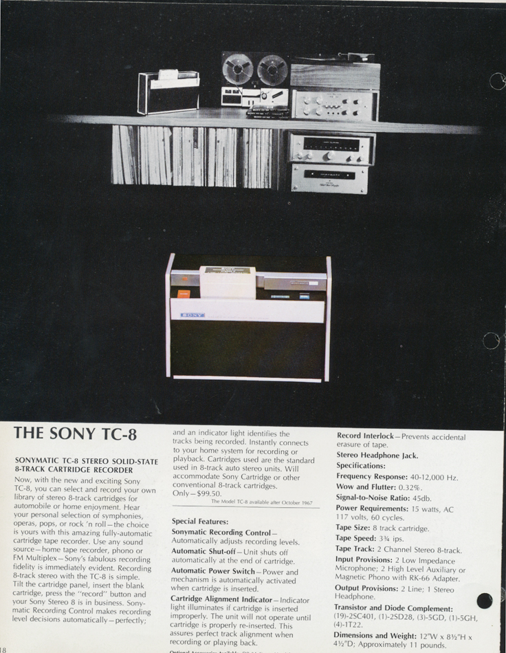 1967 Sony tape recorder brochure in Reel2ReelTexas.com's vintage reel tape recorder collection