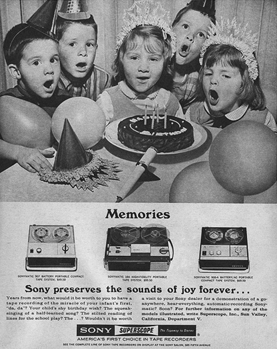 Children in ad for Sony portable recorders in Phantom Productions' vintage reel tape recording site