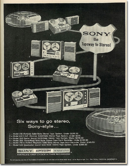 1967 ad for Sony reel tape recorders