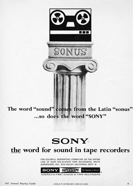 1967 ad for the Sony Sonus in Reel2ReelTexas.com's vintage recording collection