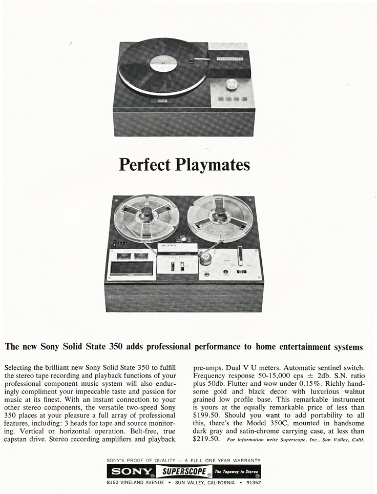 1967 ad for the Sony Superscope TC-350 reel to reel tape deck in Reel2ReelTexas.com's vintage recording collection