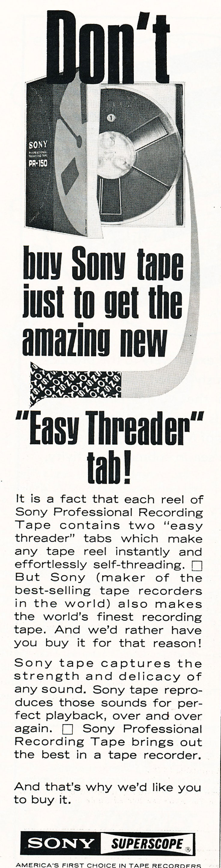 1967 ad for the Sony reel recording tape in Reel2ReelTexas.com's vintage recording collection