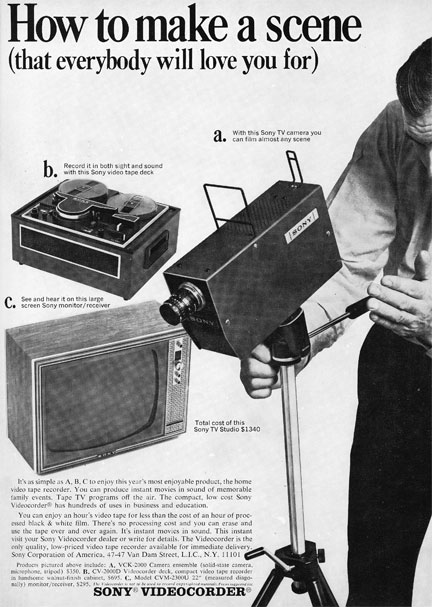 1967 ad for the Sony video equipment in Reel2ReelTexas.com's vintage recording collection