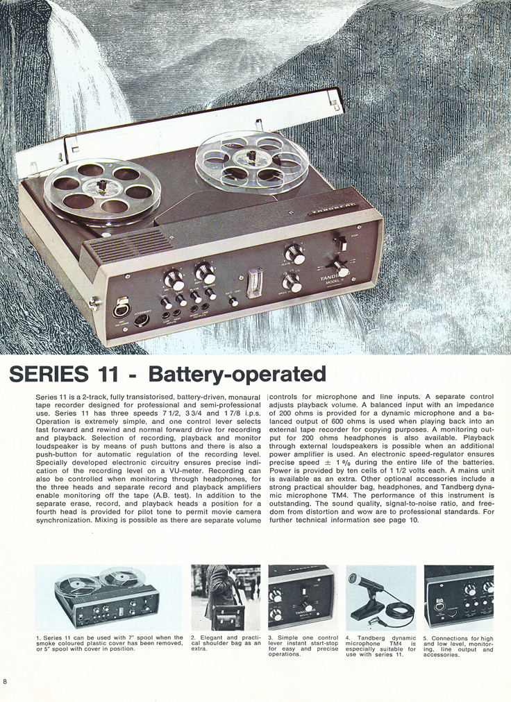 1967 Tandberg brochure featuring the Tandberg Model 6x, the Tandberg Model 8, Tandberg Model 9, Tandberg Model 11, Tandberg Model 12 and the Tandberg Model 13 reel tape recorders in the Reel2ReelTexas.com's vintage recording collection