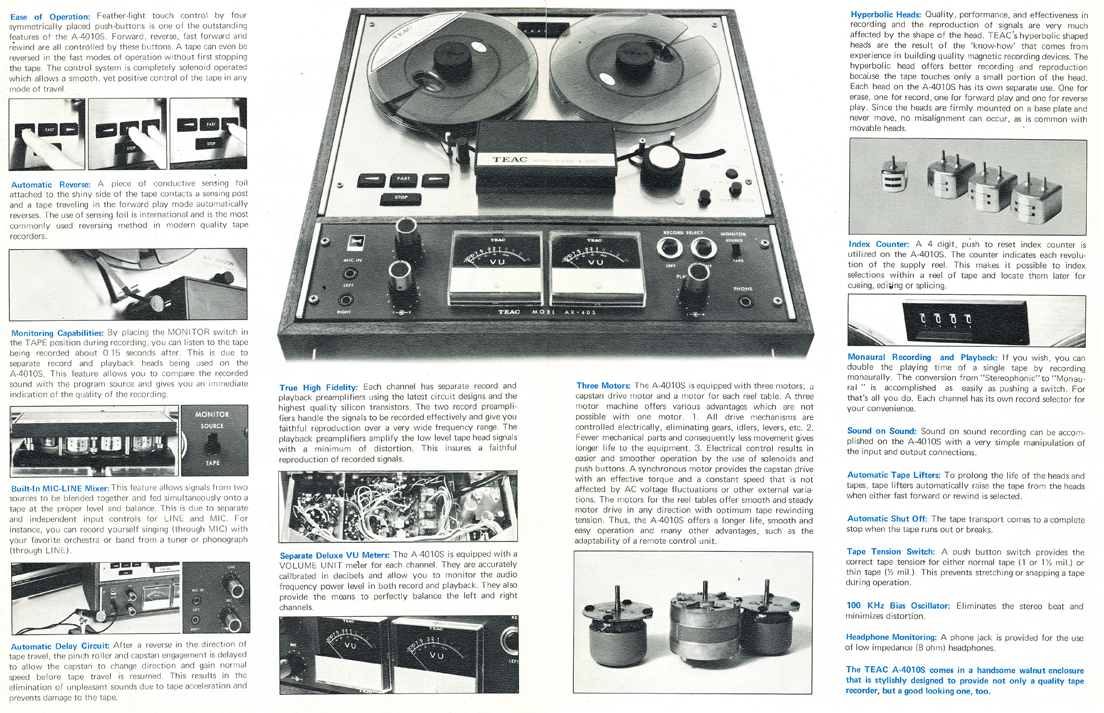 1967 brochure for the Teac 4010S reel to reel tape recorder in Reel2ReelTexas.com's vintage recording collection