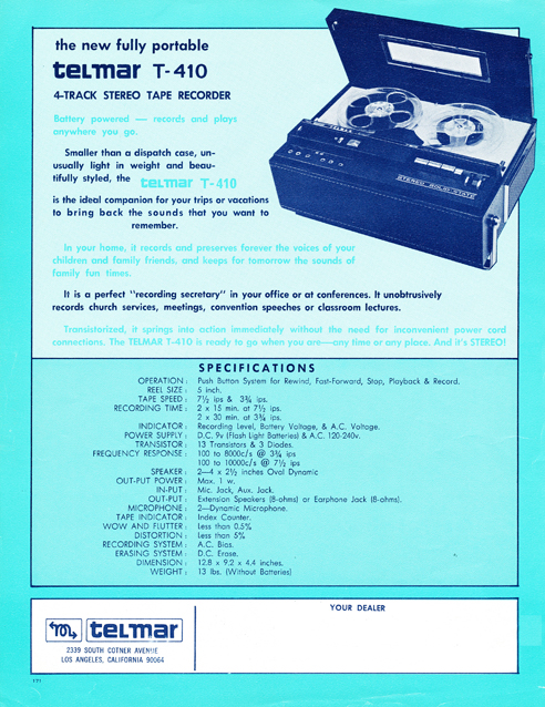 1967 ad for the Telmar T-410 in Reel2ReelTexas.com's vintage reel tape recorder collection