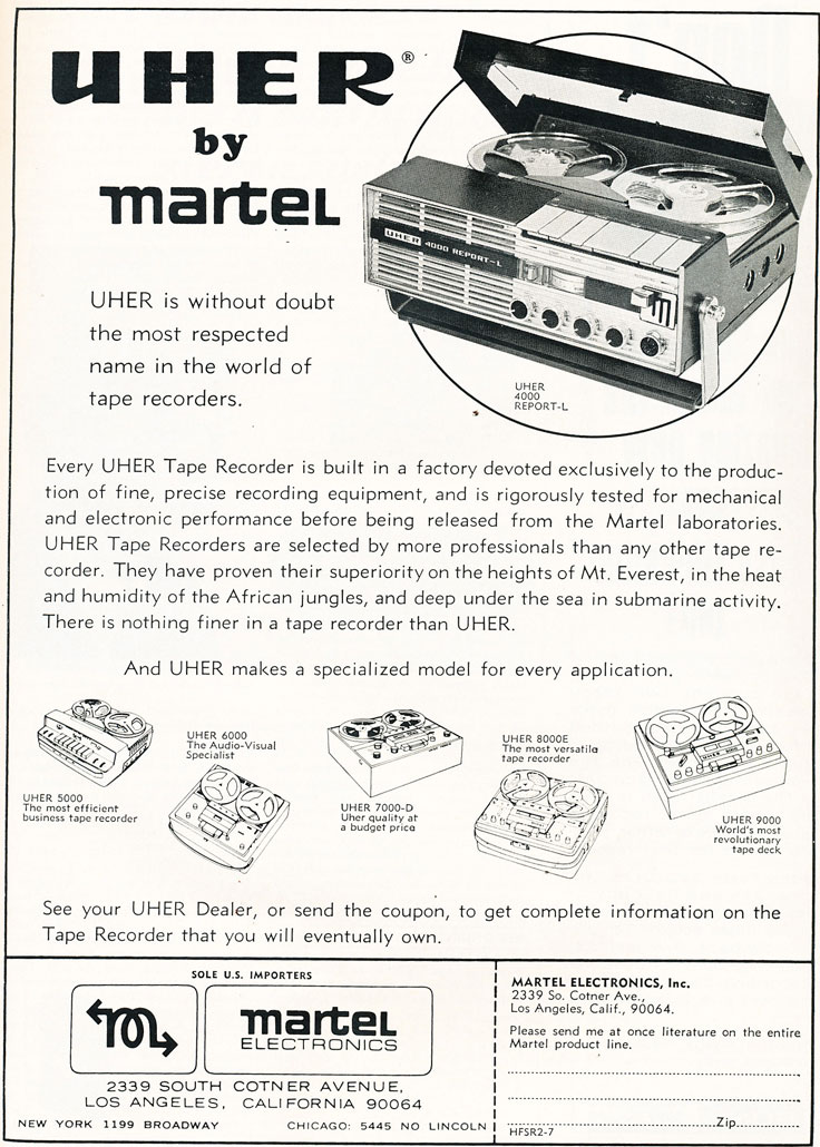 1967 ad for Uher Martel reel to reel tape recorders  in Reel2ReelTexas.com's vintage recording collection